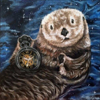 "An Otter Time & Space - 10"" x 10"" Acrylic on Canvas *Available $100"
