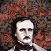 "The Ragged Poe - 12""x12 Ink & Acrylic on wood panel (Available)"