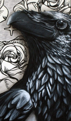All Ravens are Poe's Crows Painting by Heather Gordy